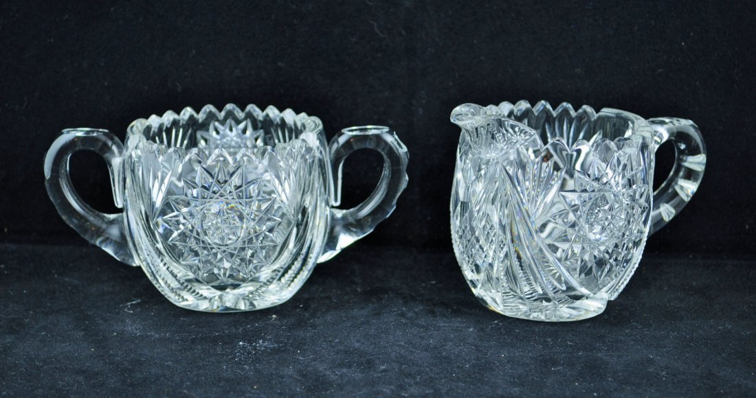 23: Fry Brilliant Period Cut Glass Sugar and Creamer
