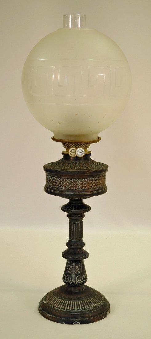 Hinks`s Duplex Lamp with Greek Key Shade