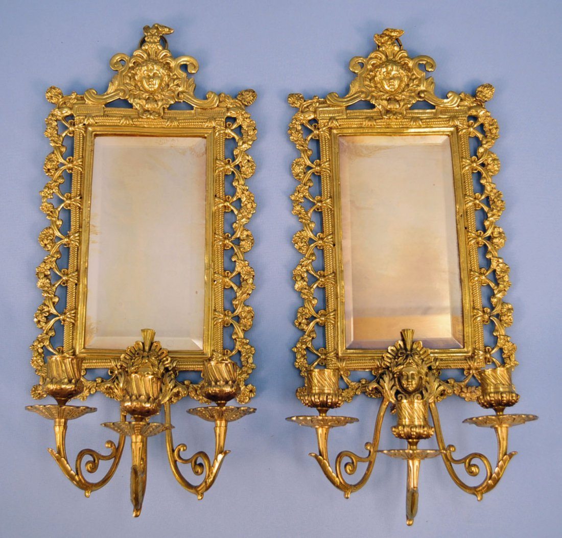 Pair Victorian Three Candle Sconces with Mirrors