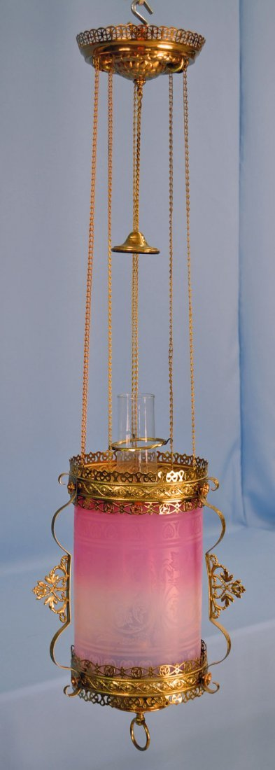 Victorian Hanging Light w/ Pink Opalescent Shade