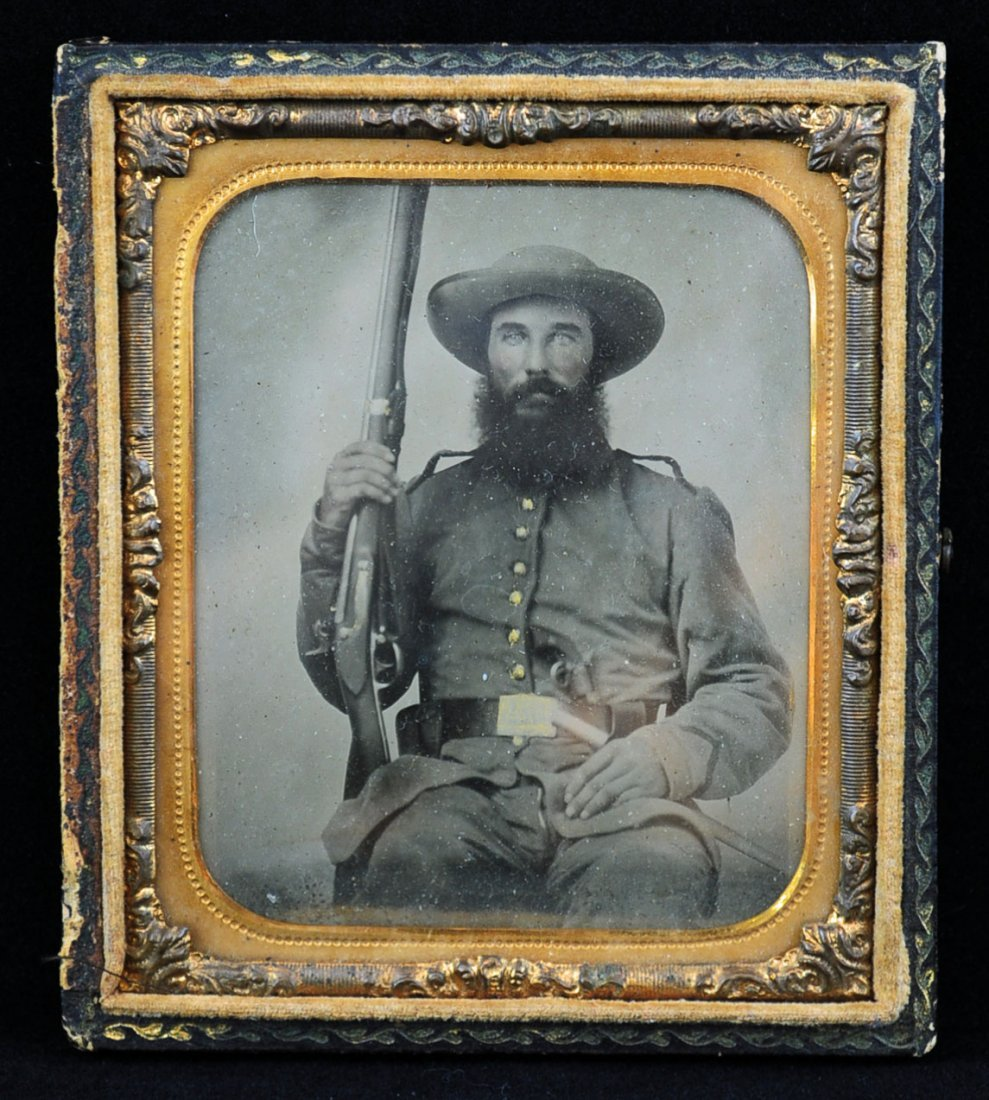 Louisiana C.S.A. Soldier With 3 Weapons Ambrotype