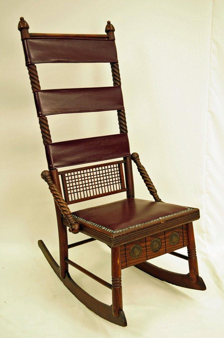 Rare Huntzinger Victorian Sewing Rocking Chair