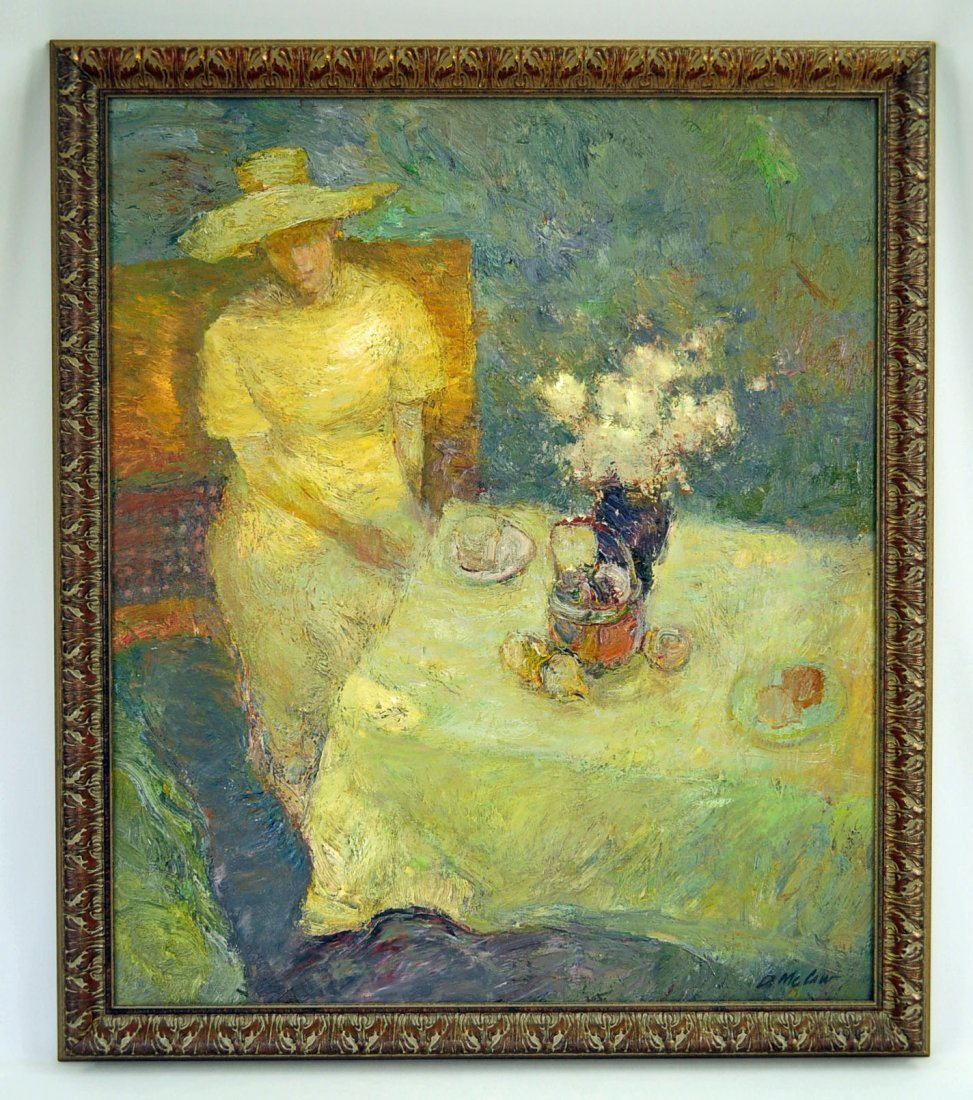 Dan McCaw (1942) Afternoon Tea, Oil On Canvas