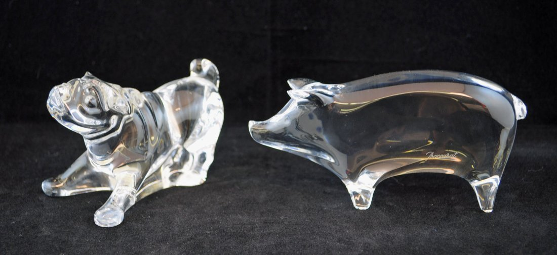 Signed Baccarat Crystal Bulldog and Pig Figurines