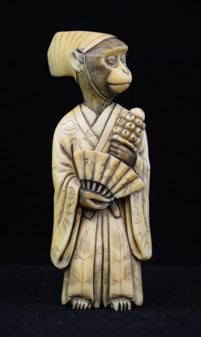 Ivory Netsuke, Monkey Nobleman, Nineteenth Century