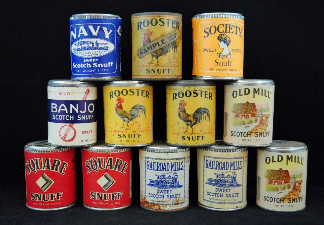 12 Vintage NOS Snuff Cans, Society & Rooster