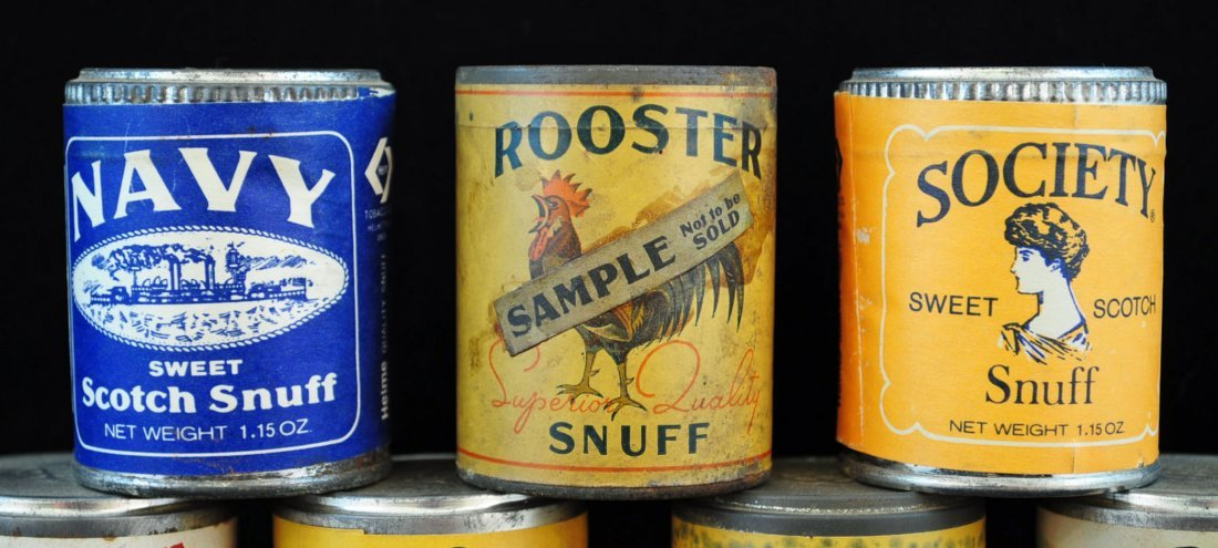 12 Vintage NOS Snuff Cans, Society & Rooster - 2