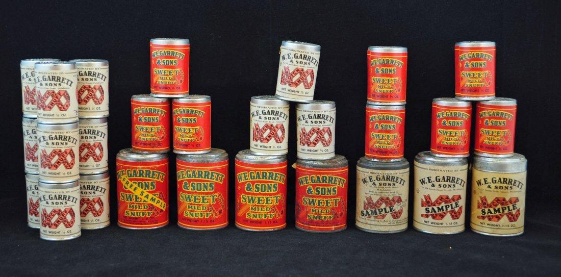 27 W.E. Garrett & Sons Snuff Cans Incl. 24 Samples