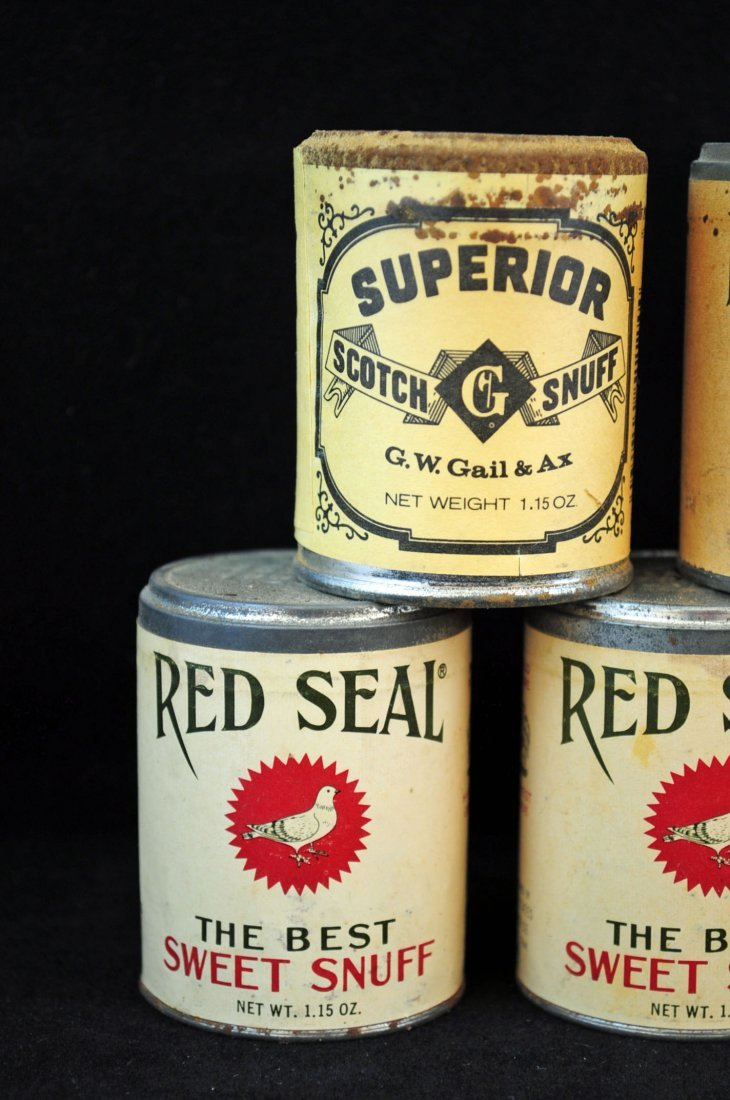 10 Vintage NOS Red Seal & Superior Snuff Cans - 2