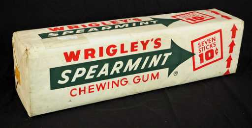Giant Wrigley`s Spearmint Gum Display Box 40 Cents Impressive Wrigley's Chewing Gum Display Stand