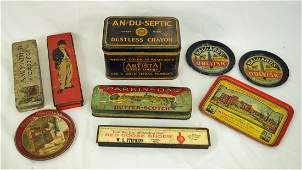 9 Vintage Advertising Tin Items, Red Goose, Etc