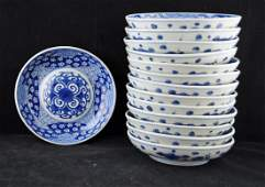 14 Antique Chinese Export Blue & White Bowls
