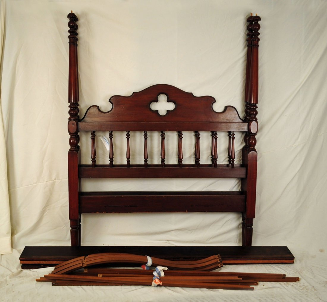 Victorian Walnut Finish Poster Bed w/ Canopy.