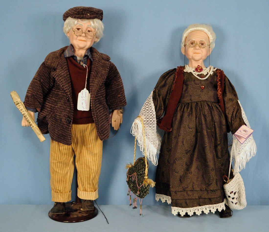 Two Goldenvale Porcelain Grandma & Grandpa Dolls
