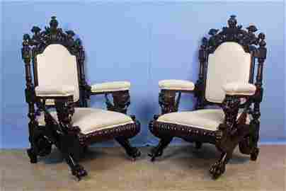 Pair 19th C. Mahogany Winged Griffin Throne Chairs
