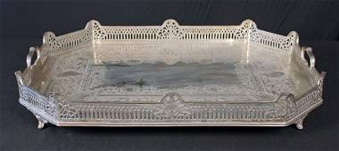 Victorian Silver Plate Tray w/ Gallery