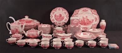 93 Pc. Johnson Bros Old Britain Castles Pink China