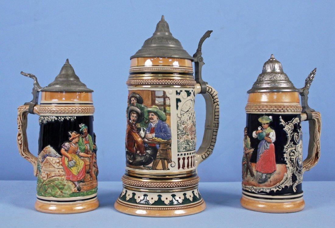 Three German Beer Steins Incl Hudepohl W. Germany