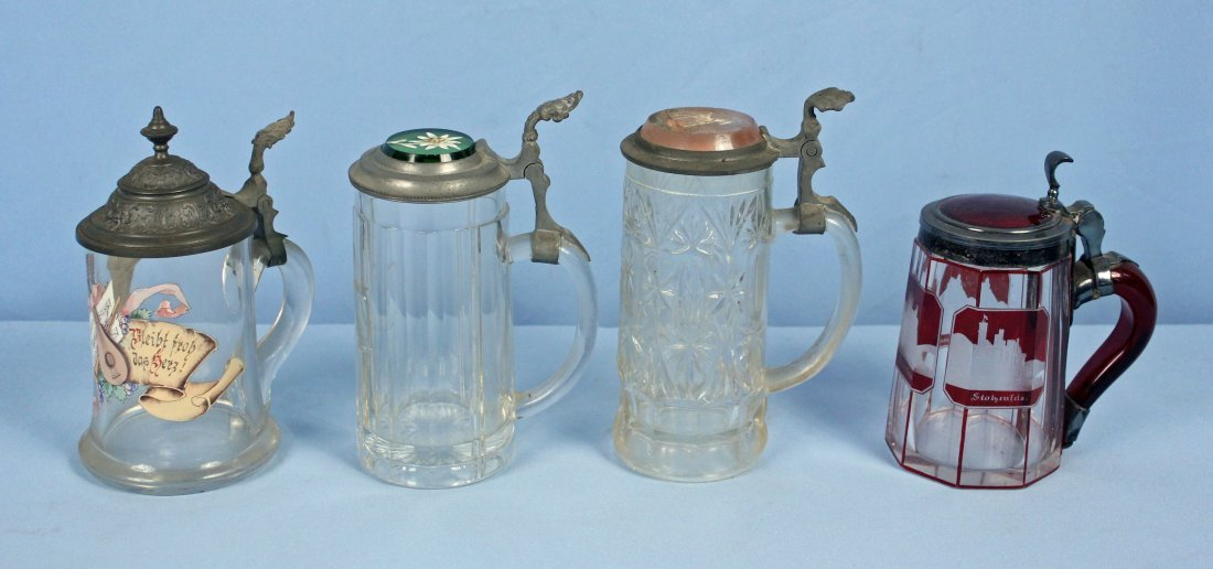 Four German Glass Beer Steins