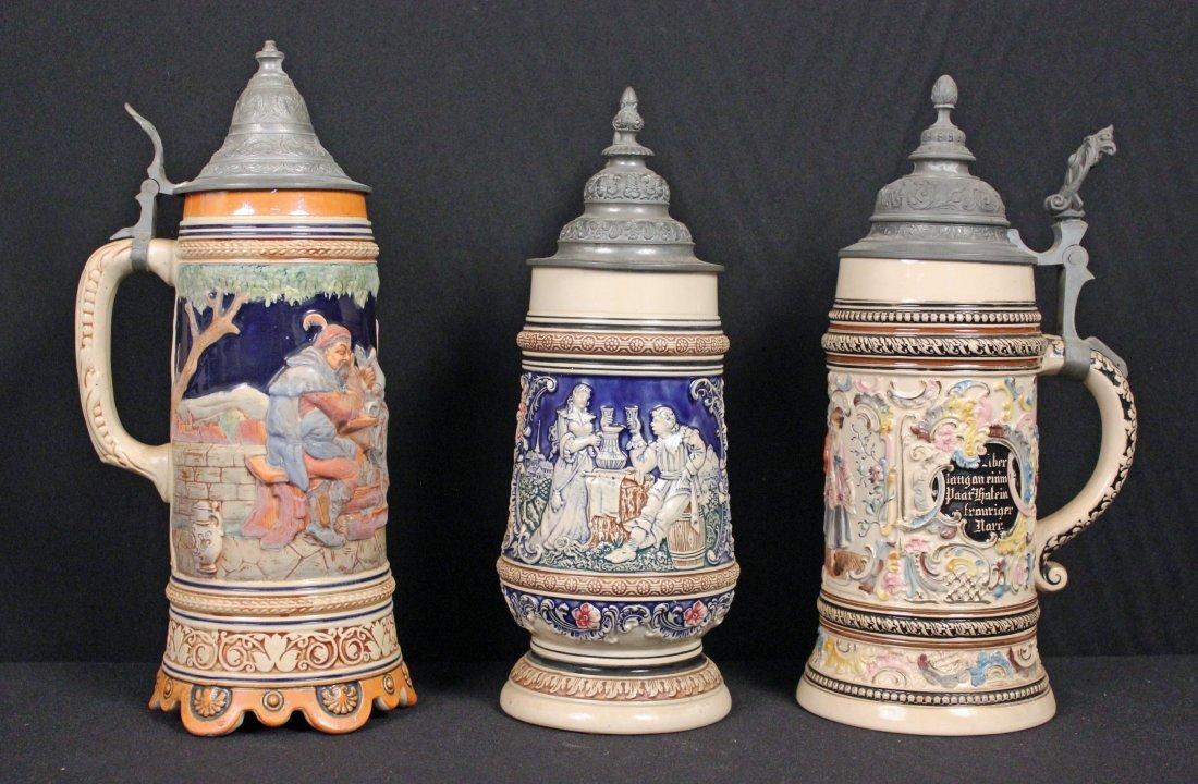 Three 1 Liter German Ceramic Beer Steins