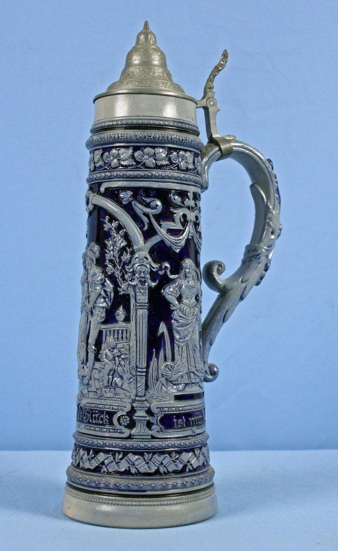 Two Liter Antique German Blue & Grey Beer Stein