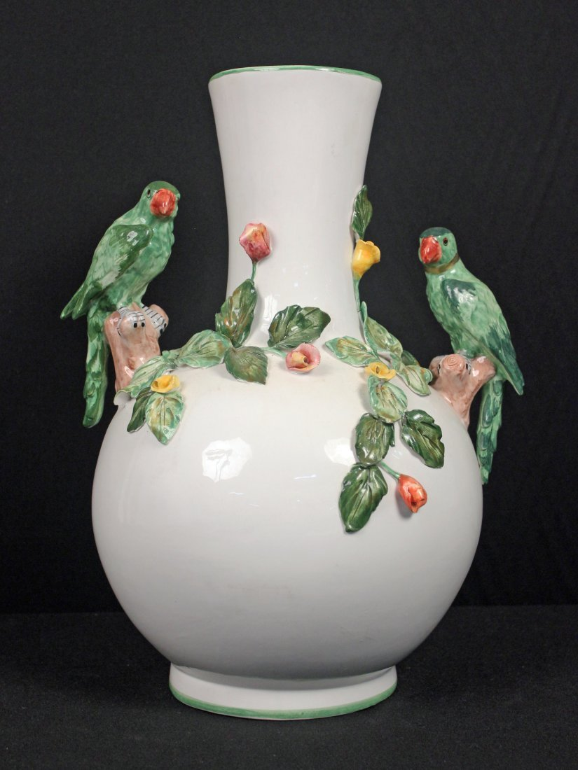 Large Capodimonte Italian Vase w/ Figural Parrots