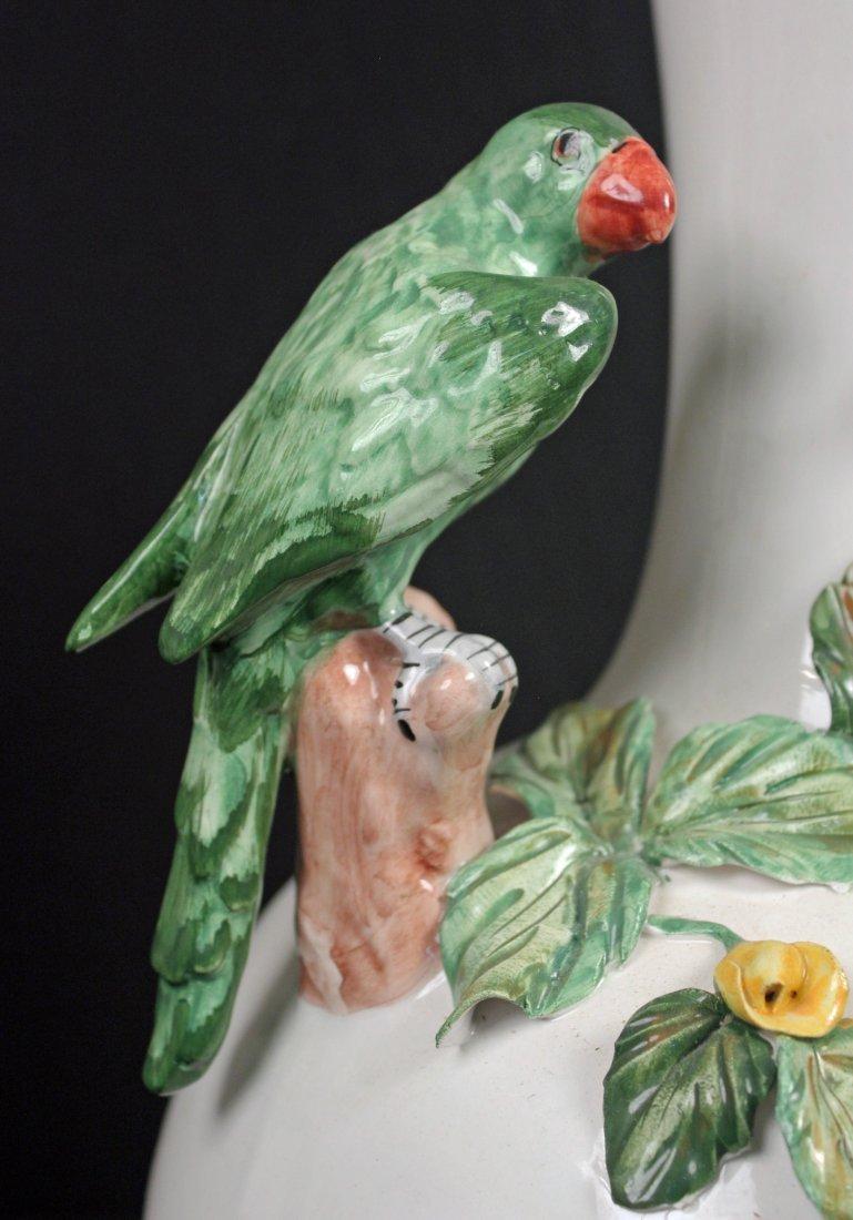 Large Capodimonte Italian Vase w/ Figural Parrots - 4