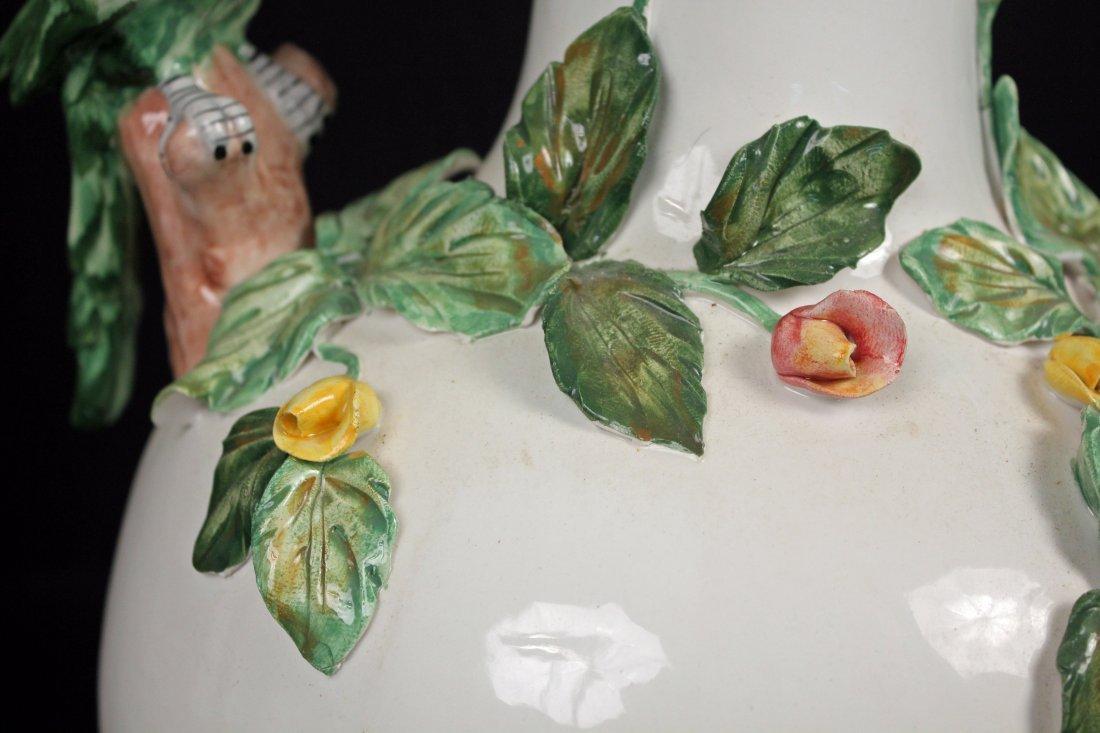 Large Capodimonte Italian Vase w/ Figural Parrots - 5