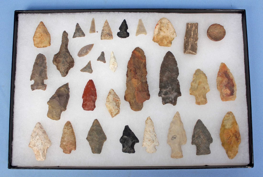 Display Case with 30 Indian Artifacts/Arrowheads
