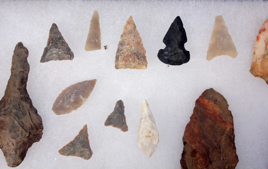Display Case with 30 Indian Artifacts/Arrowheads - 3