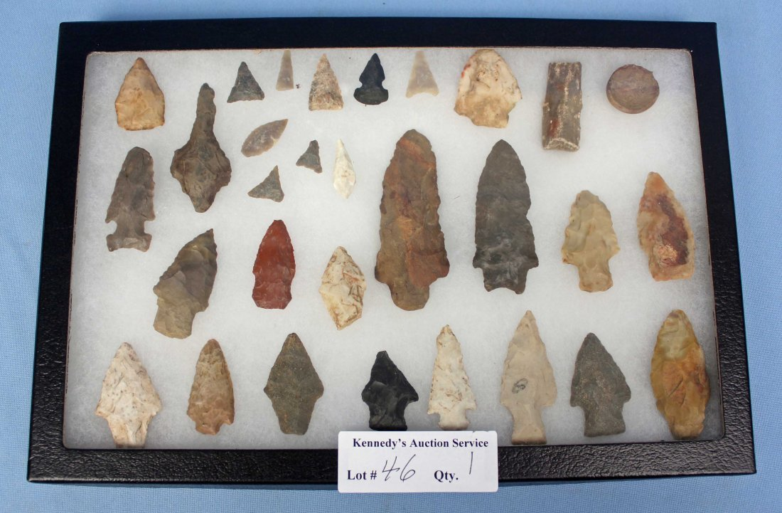 Display Case with 30 Indian Artifacts/Arrowheads - 4