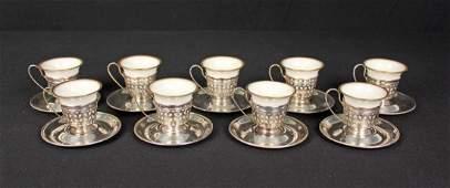 Set of 9 Gorham Sterling Silver Demitasse Cups