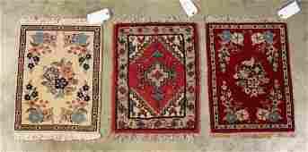 Three Persian Style Miniature Prayer Rugs