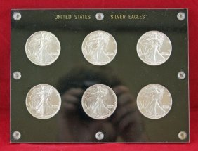 Group Of 6 American Eagle Silver .999 Fine Coins