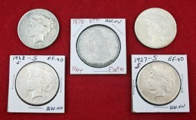 Four Peace & One Morgan Silver Dollars