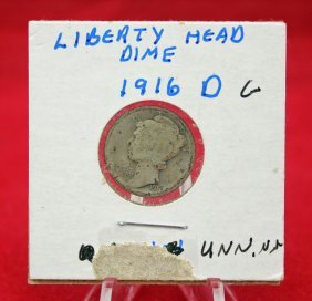 1916 D Silver Mercury Dime Key Date