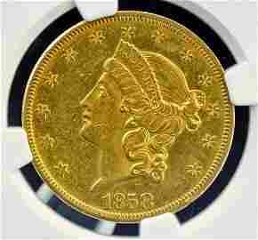 Rare 1858-O U.S. $20 Gold Piece AU55 NGC