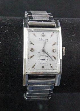 Gruen Curvex Precision 14k White Gold Wristwatch