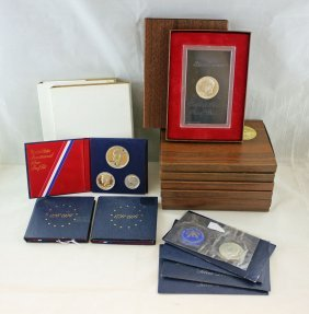 Group Of Eisenhower Proof/unc Clad Silver Dollars