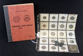 Jefferson Nickel Book 1938 And Various Other Coins