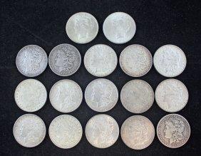 17 Morgan And Peace Silver Dollars 1880 - 1923