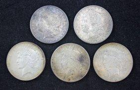 2 - Morgan & 3 - Peace Silver Dollars 1897 - 1923