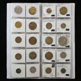 80 Pocket Album W/ Foreign Coins, Tokens Etc.