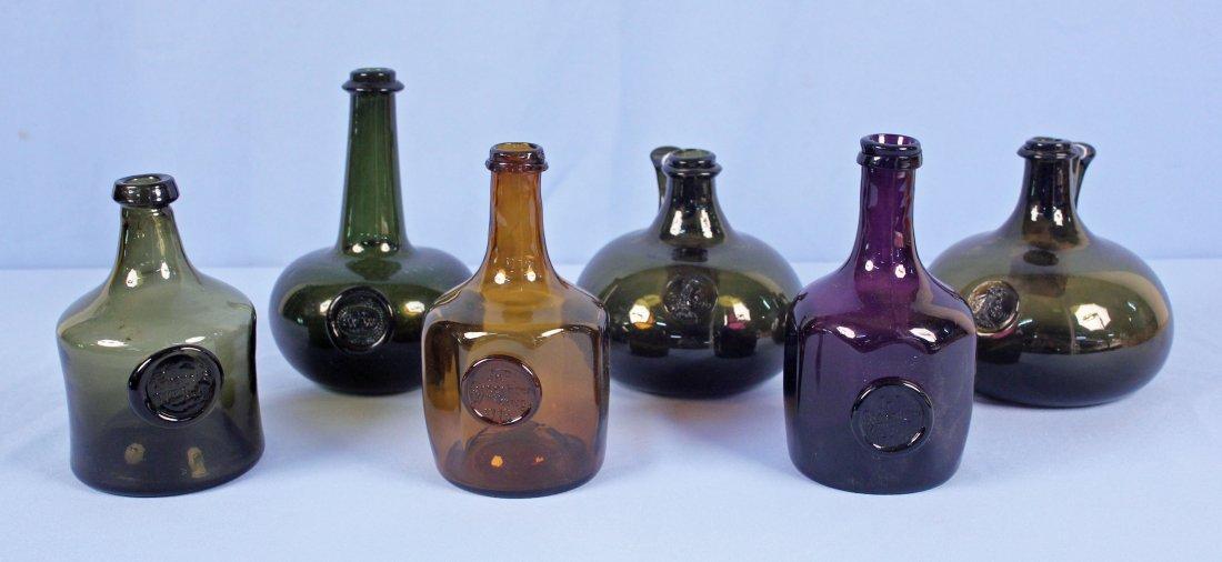 6 Williamsburg 20th C. Hand Blown Bottles