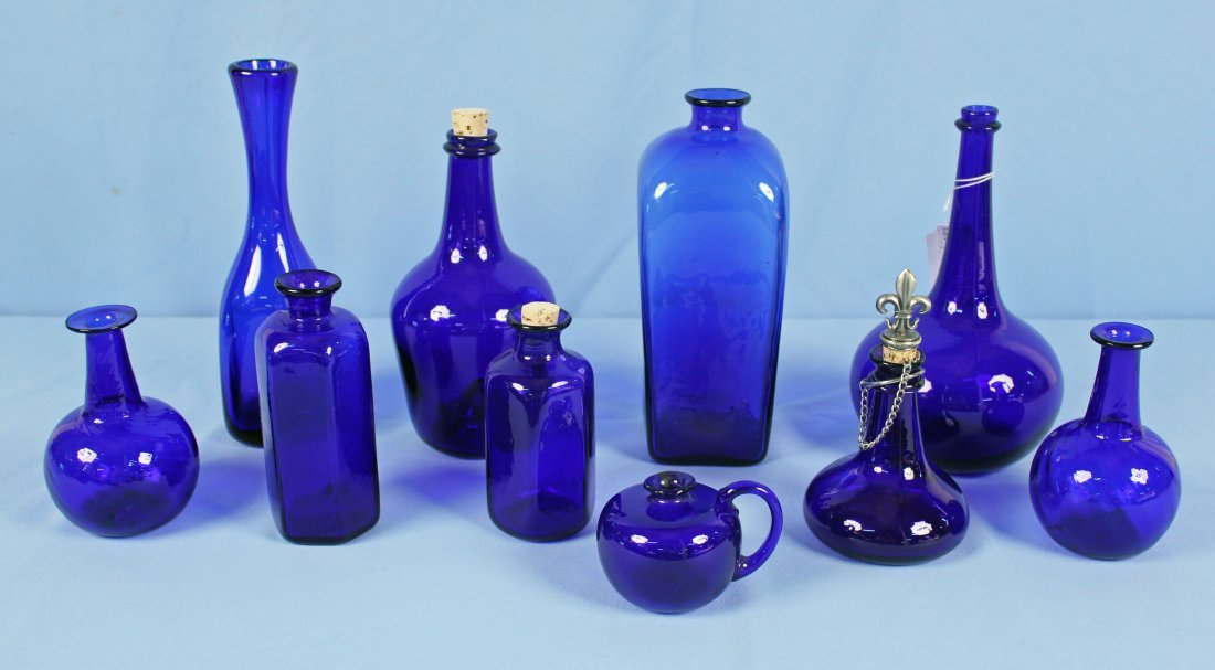 10 Hand Blown 20th C. Cobalt Blue Bottles