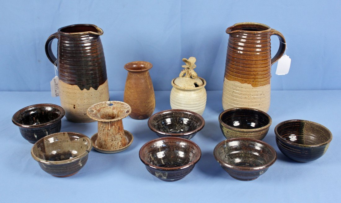 12 Pieces of 20th Century Salt Glazed Stoneware