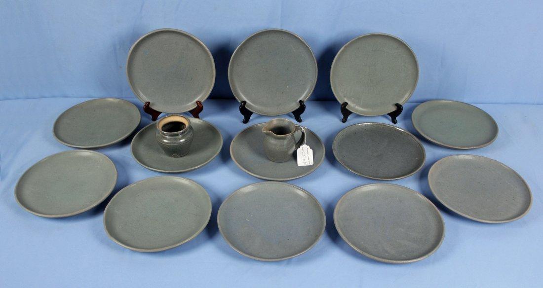 40 Pcs. Blue Stoneware Dish Set Marked LP