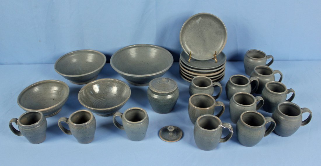 40 Pcs. Blue Stoneware Dish Set Marked LP - 2