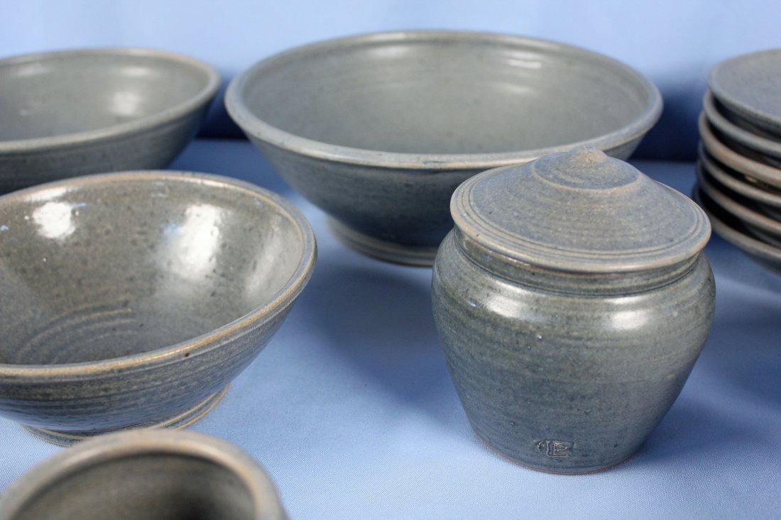 40 Pcs. Blue Stoneware Dish Set Marked LP - 7