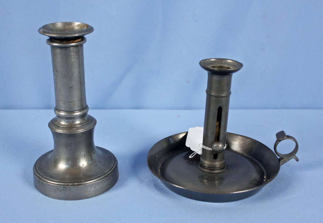 Pr. Pewter Candle Sconces & 2 Candlesticks - 3